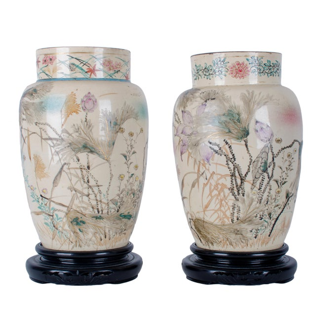 Hand Painted Japanese Vases - a Pair For Sale - Image 9 of 9