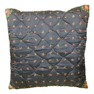 1970s Vintage Rose Pattern Silk Twill Scarf Throw Pillow For Sale