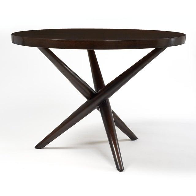 Brown T.H. Robsjohn Gibbings Tripod Base Side Tables - a Pair For Sale - Image 8 of 10