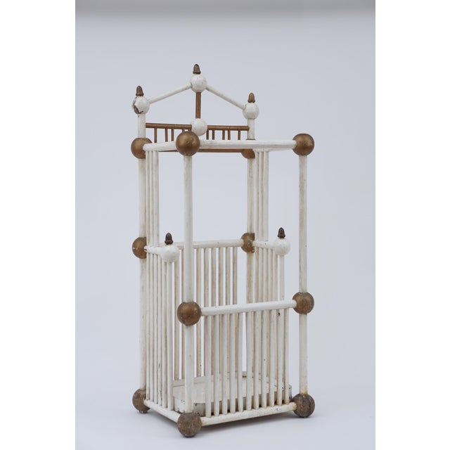 Folk Art White Painted Stick & Ball Umbrella Stand For Sale - Image 3 of 6