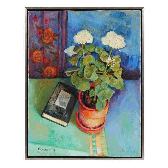 Geraniums Still Life Oil Painting - Image 1 of 2