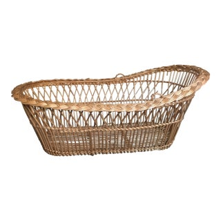 Vintage Mid-Century French Laundry Basket For Sale