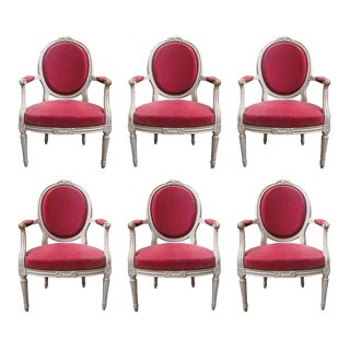 19th Century Louis XVI Grey Painted Fauteuils - Set of 6 For Sale