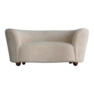 Danish 1940s Viggo Boesen Style Curved Loveseat or Sofa Covered in Lambswool For Sale
