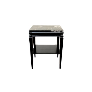 1960's Neoclassical Style Black Marble Side Table For Sale