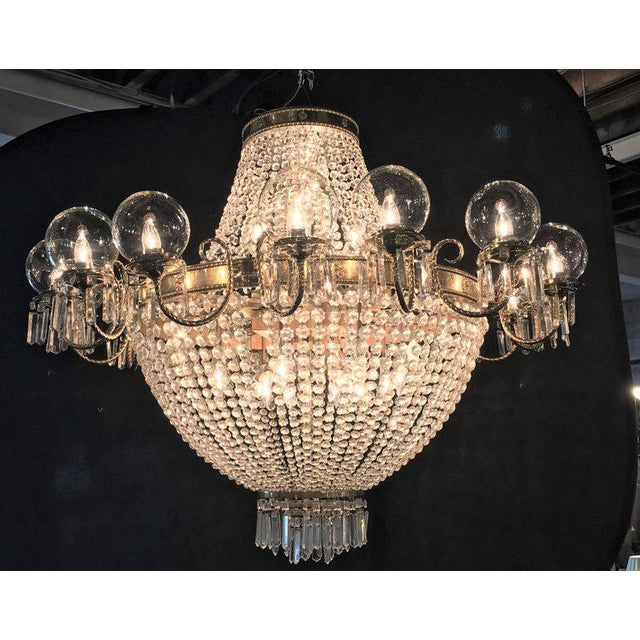 Neoclassical Palatial Neoclassical Brass and Crystal Basket Chandelier with Hanging Prisms For Sale - Image 3 of 10
