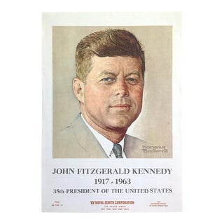 "Norman Rockwell Jfk Rare Vintage 1963 Iconic Collector's Lithograph Print Poster "" John Fitzgerald Kennedy "" 1960 For Sale"