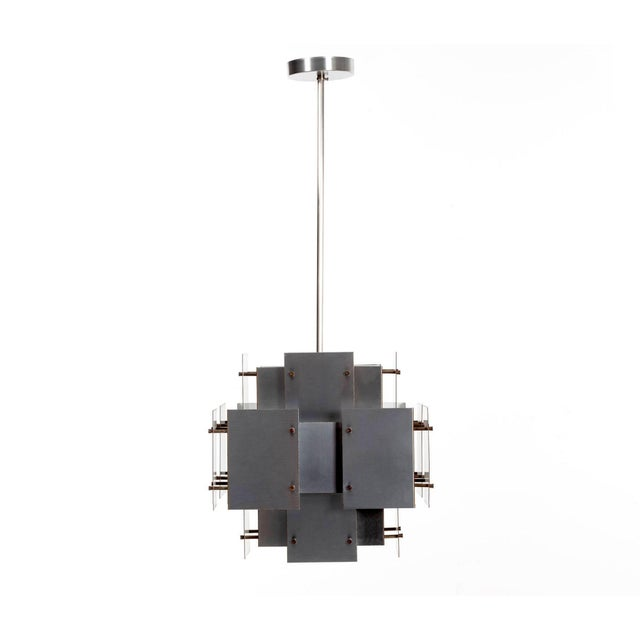 Sonneman brushed steel chandelier, multi-plain panels act as light diffusers