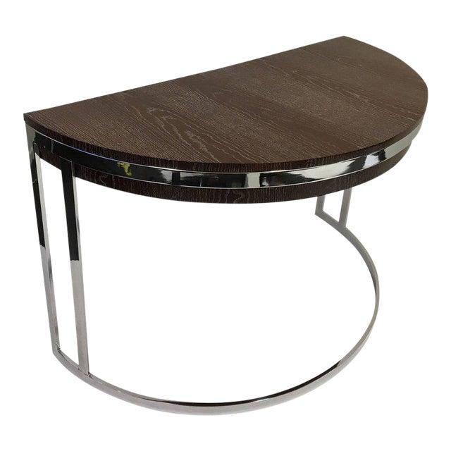 Cerused Oak and Chrome Demilune Desk by Milo Baughman - Image 1 of 11