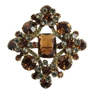 Vintage D&e Juliana Topaz & Black Diamond Rhinestone Flower Spray Brooch For Sale
