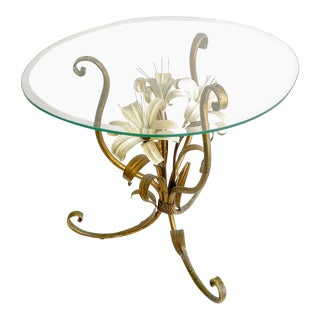 Vintage Italian Lilly Tole Gilded Side Table With Glass Top For Sale