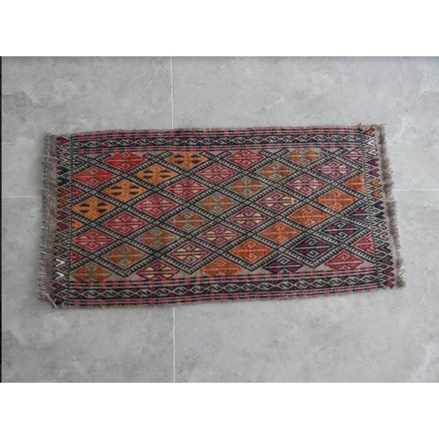Islamic Handwoven Turkish Kilim Rug Pastel Colors Area Rug Petite Braided Kilim For Sale - Image 3 of 8