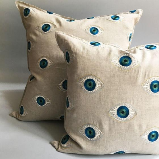 Boho Chic Evil Eye Pillow For Sale - Image 3 of 4