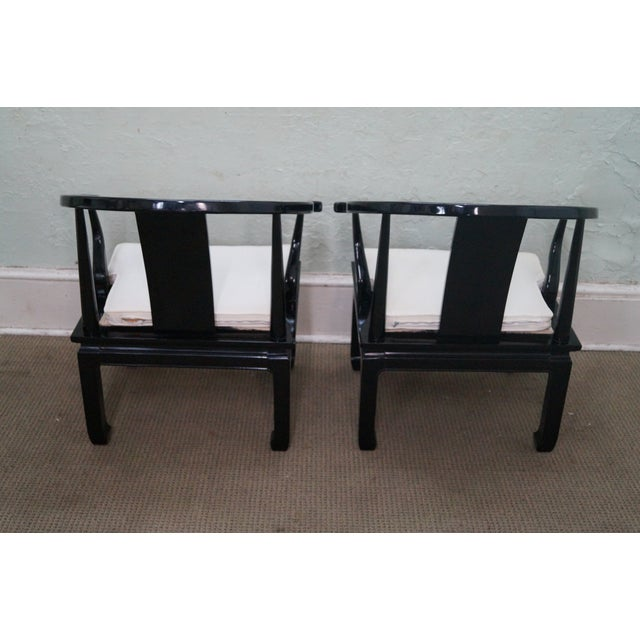 Ebonized Asian Style Armchairs by Century - A Pair - Image 4 of 10