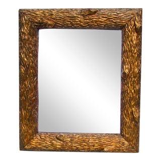 Gilt Wood Carved Tree Bark Mirror Frame For Sale