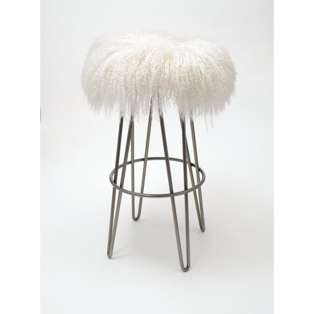 Modern Curly Bright White Hairpin Swivel Barstool For Sale - Image 3 of 3