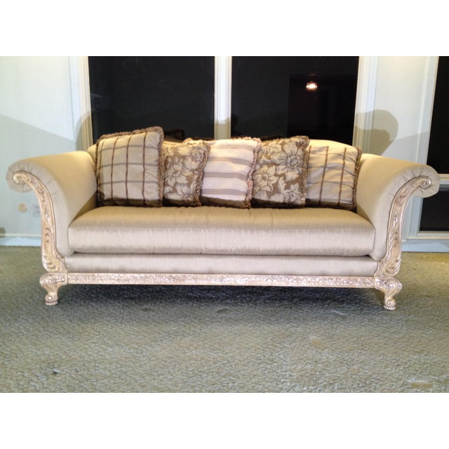 2000 - 2009 Gold Detail Sofa & Accent Pillows For Sale - Image 5 of 5