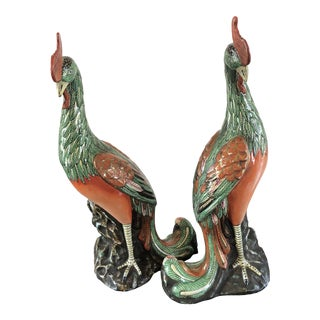 19th Century Antique Chinese Export Phoenix Figurines - a Pair For Sale