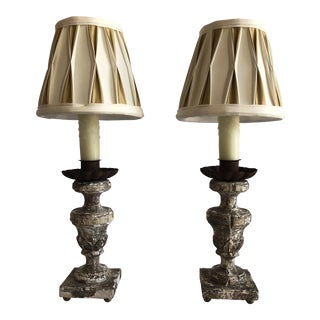 Italian Carved Wood Candlestick Table Lamps – a Pair For Sale