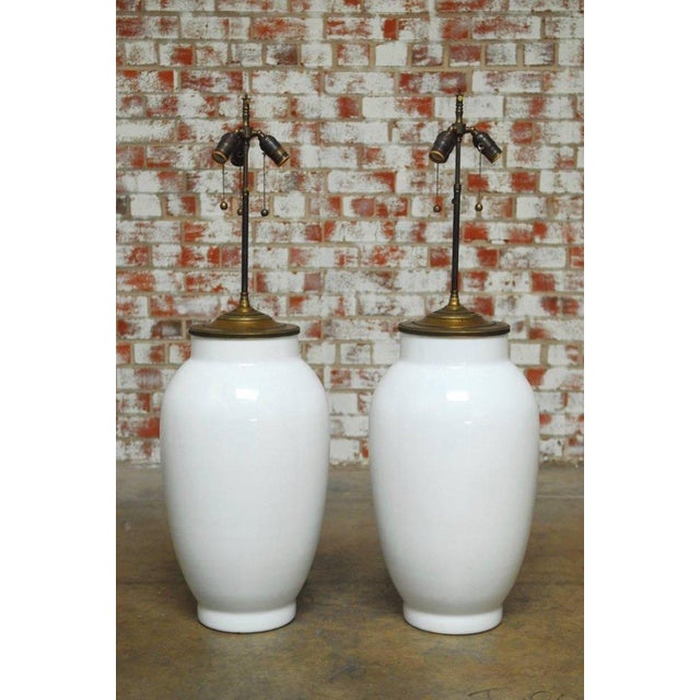Asian Blanc de Chine Baluster Form Table Lamps - A Pair For Sale - Image 3 of 9