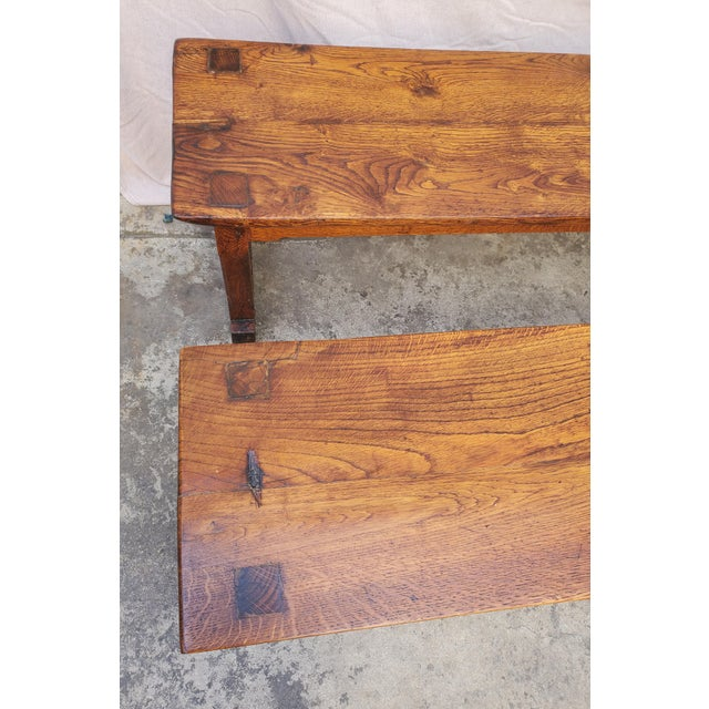 Antique Plank Solid Oak Refectory Dining Table With a Pair of Monastery Benches - 3 Pieces For Sale - Image 12 of 13