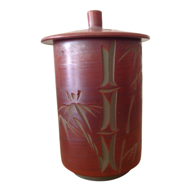 Japanese Small Cylindrical Ceramic Pot With Lid and Bamboo Decoration. For Sale