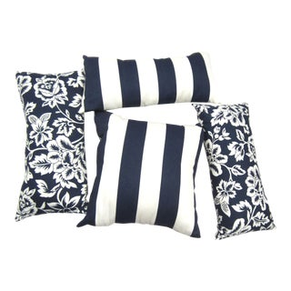 Navy & White Pillows - Set of 4 For Sale