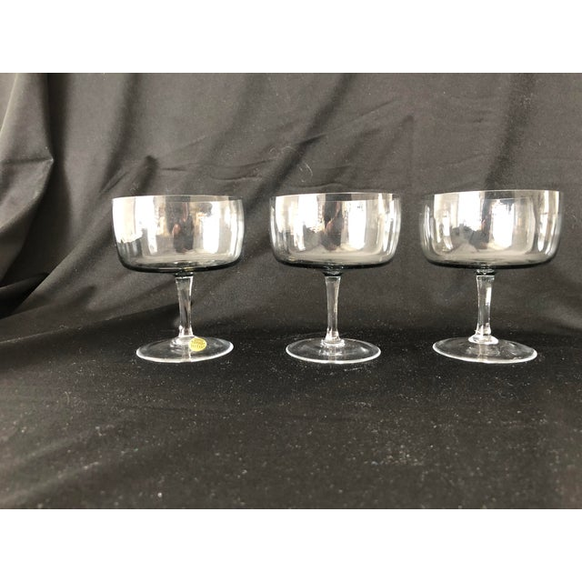 1970s Midcentury Smoky Color Set of 3 Sherbet/ Champagne Glasses For Sale - Image 5 of 6