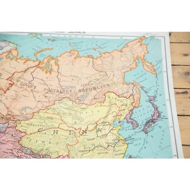 Paper Antique Nystrom Pull Down Map of Asia & Australia For Sale - Image 7 of 9