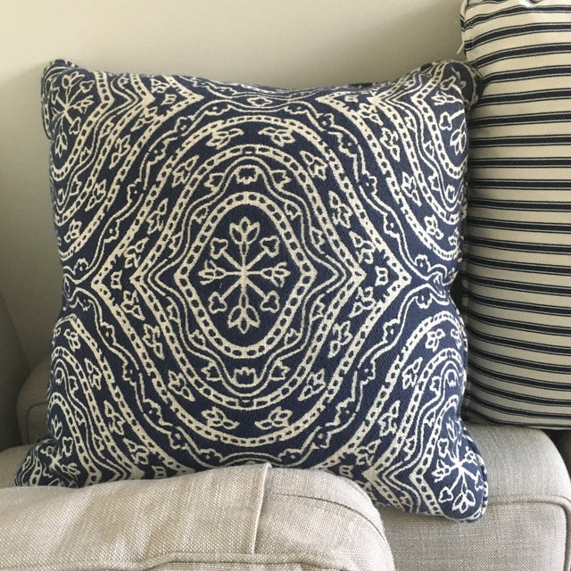 Contemporary Navy Blue & White Patterned Pillow - Image 2 of 3