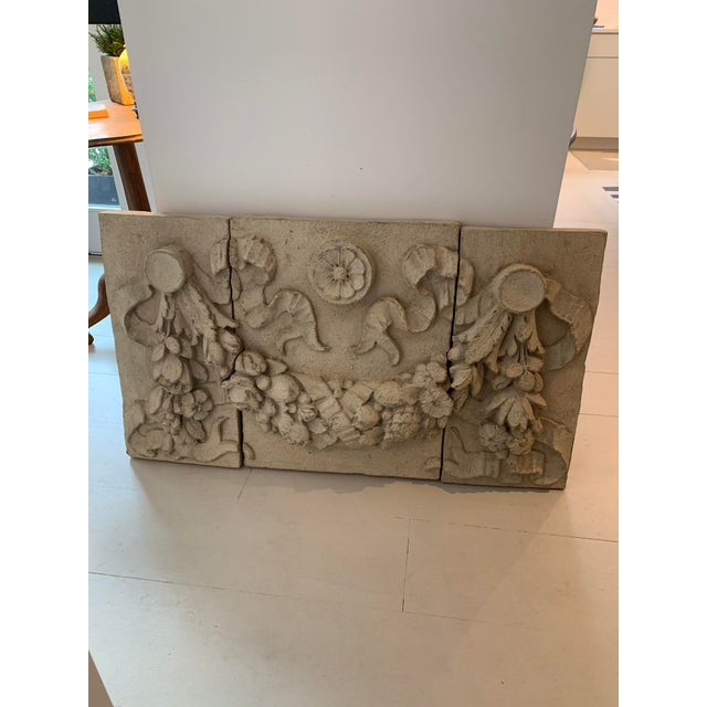 1990s Architectural Faux Limestone Frieze With Fruit and Garland Motif - Set of 3 For Sale - Image 10 of 11