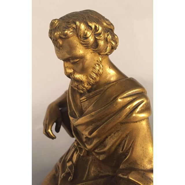 Classical Figure of a Philosopher, French, Gilt Bronze For Sale - Image 4 of 5