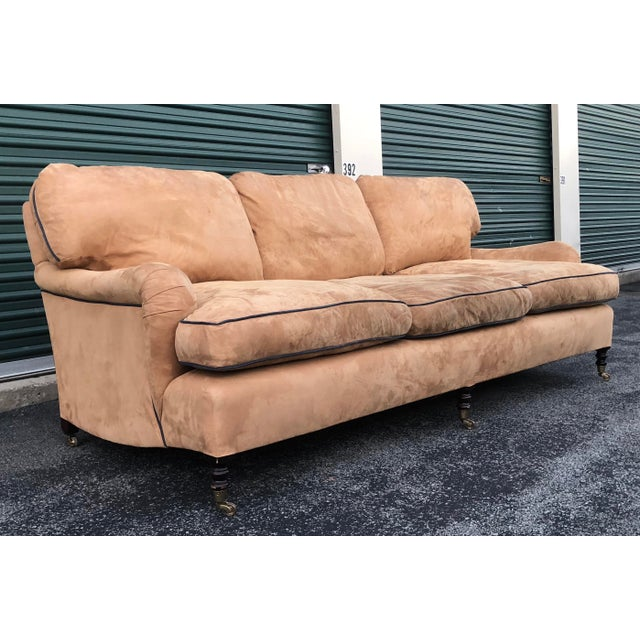 George Smith Standard Arm Loose Back Sofa in MicroSuede with contrasting piping. The tan microsuede is incredibly soft....