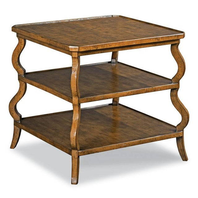 Transitional Modern Tiered Side Table For Sale - Image 3 of 3