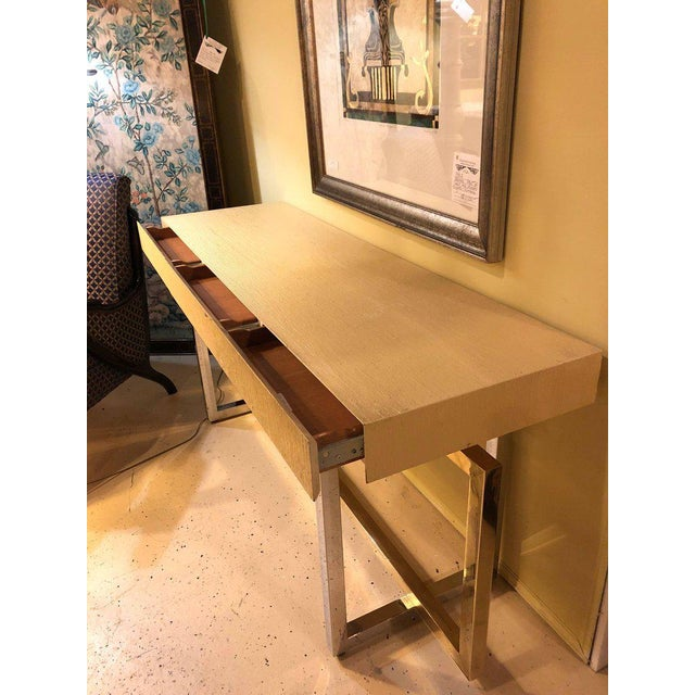 1960s Modernist Chrome and Brass Based Console Table or Sideboard For Sale - Image 5 of 10
