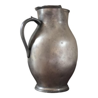 Antique Heavy Signed Pewter Pitcher For Sale