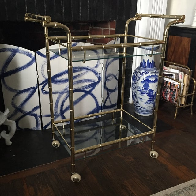 Hollywood Regency Brass Faux Bamboo & Glass Rolling Bar Cart - Image 5 of 11