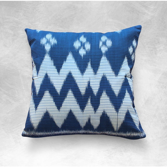 """Java Ripples"" Indigo Handwoven Ikat Pillow Cover - Image 5 of 5"