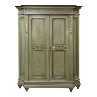 Antique Italian Neoclassical Painted Armoire