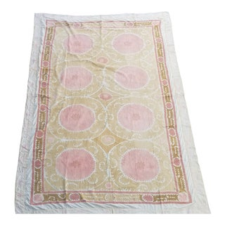 Neutral Color Suzani Bed Cover Wall Hanging For Sale