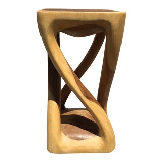 Abstract Asian Four Legged Twist Acacia Wood Low Stool