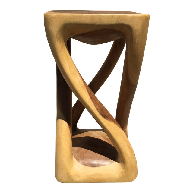 Abstract Asian Four Legged Twist Acacia Wood Low Stool For Sale