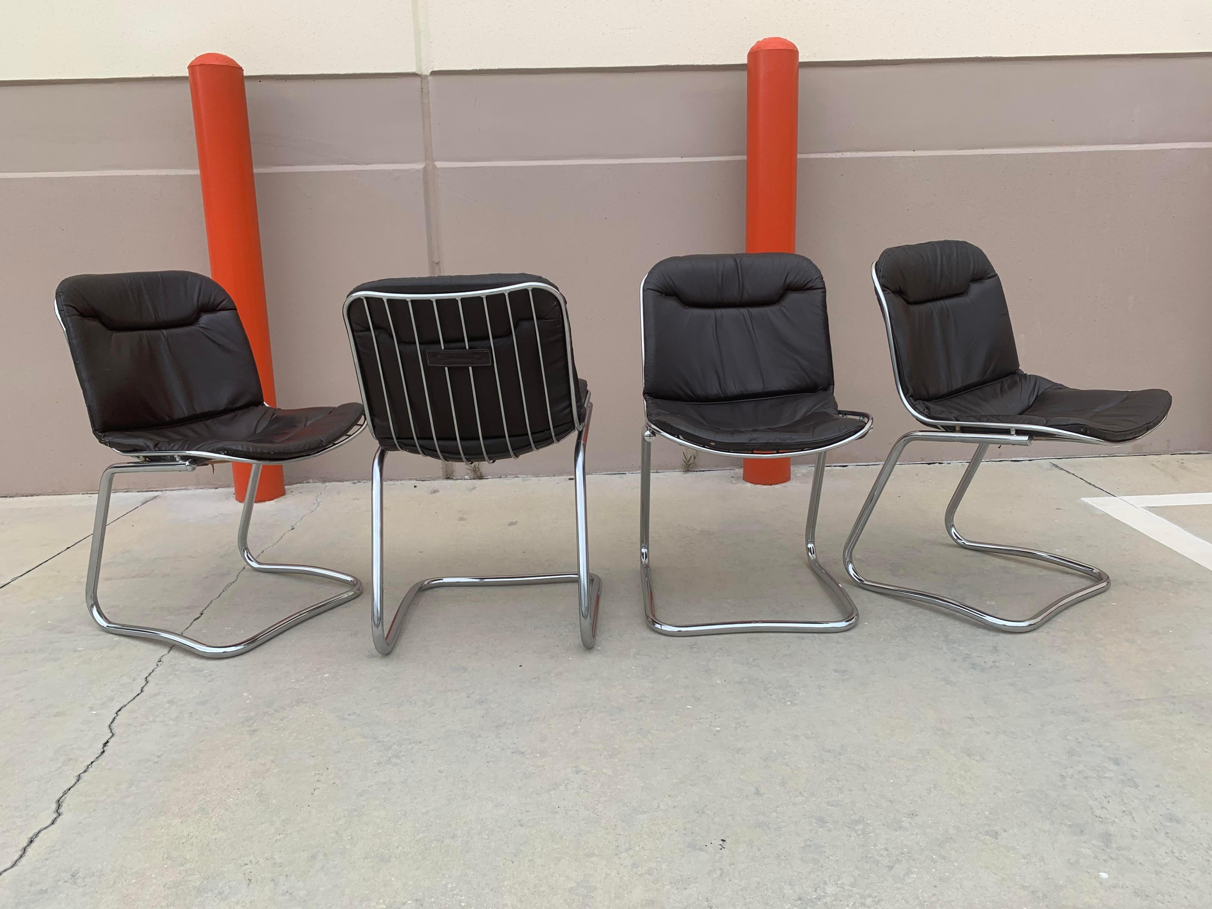 mid century Gastone Rinaldi Sabrina leather chrome dining chairs set of 4