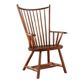 Hunt Furniture Co Rustic Wood High Back Windsor Armchair For Sale