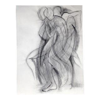 Abstract Charcoal Figure Drawing Dancer in Motion by Kathleen Ney For Sale