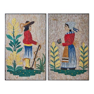 Pair of Folk Art Mosaic Tile Paintings Man and Woman For Sale