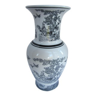 Black & White Toile Chinoiserie Vase For Sale