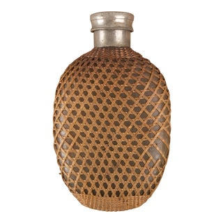 Vintage Small Flask Wrapped in Wicker For Sale