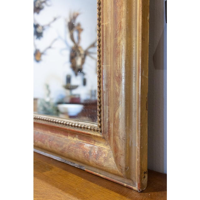 Antique French Gilt Louis Philippe Mirror With Floral Decoration For Sale - Image 11 of 13