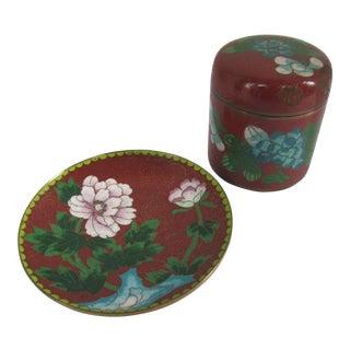Vintage Cloisonné Round Box & Tray For Sale